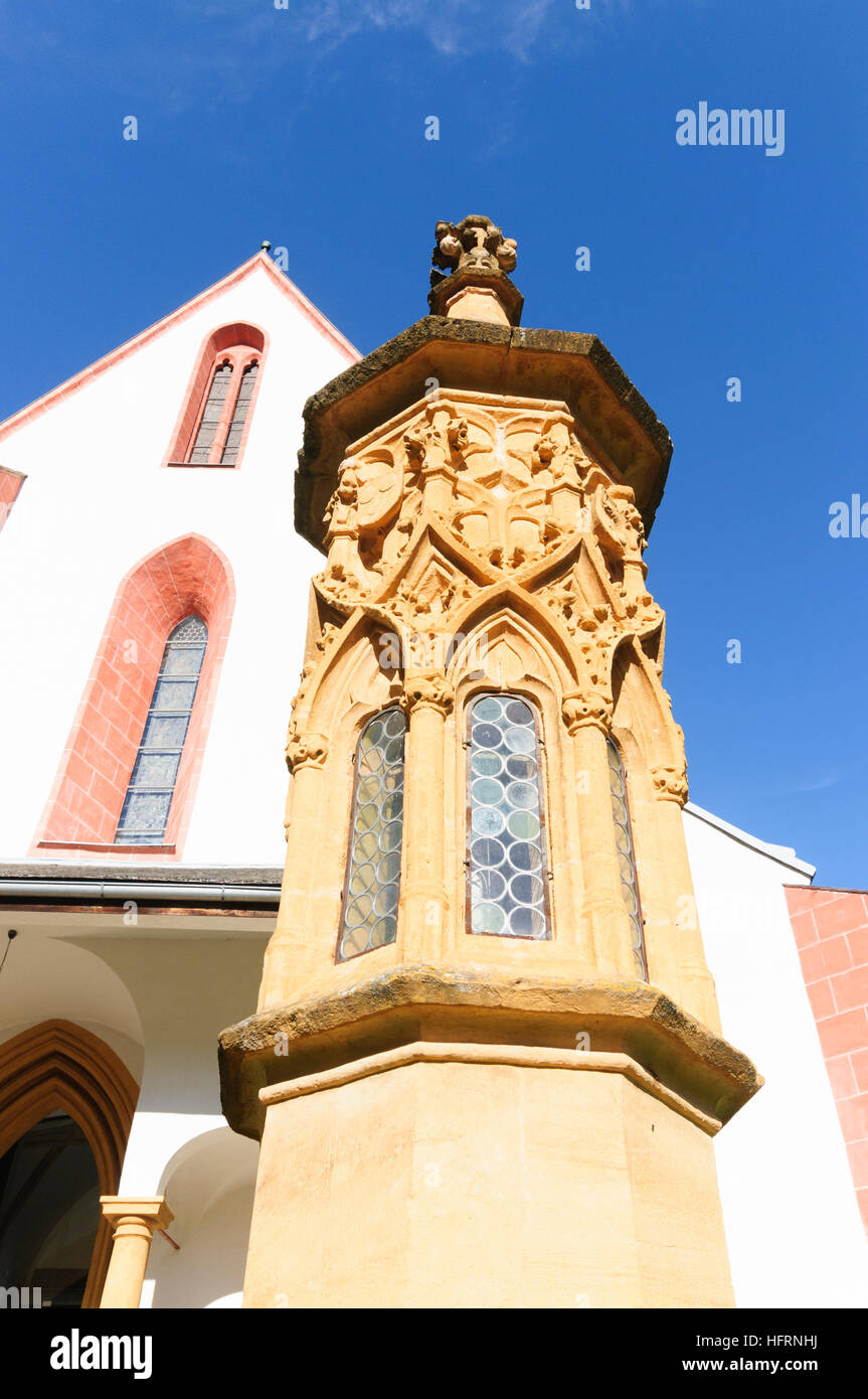 Murau: St. Matthäus parish church and gothic light column, Murtal, Steiermark, Styria, Austria Stock Photo