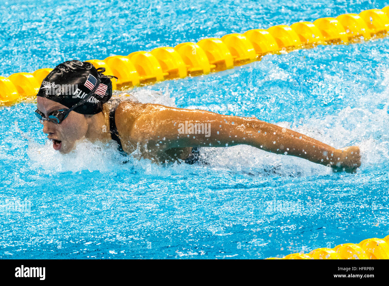 Rio de Janeiro, Brazil. 9 August 2016.   Hali Flickinger (USA) competing in the semifinal of the Women's 200m - Stock Image