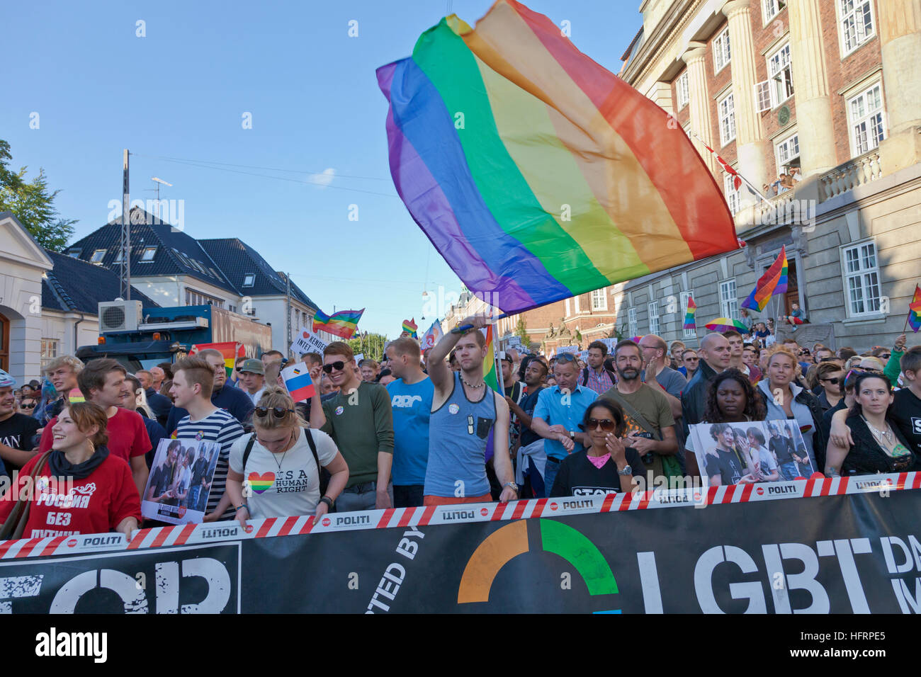 Aug. 20 2013 - 10,000 people demonstrate in Copenhagen outside the Russian Embassy against the Russian anti-gay - Stock Image