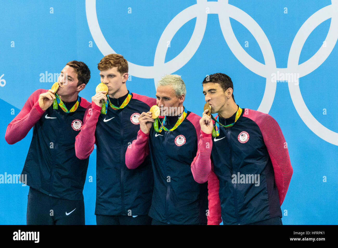Rio de Janeiro, Brazil. 9 August 2016.   Team USA gold medal winners in the Men's 4x200m freestyle relay at - Stock Image