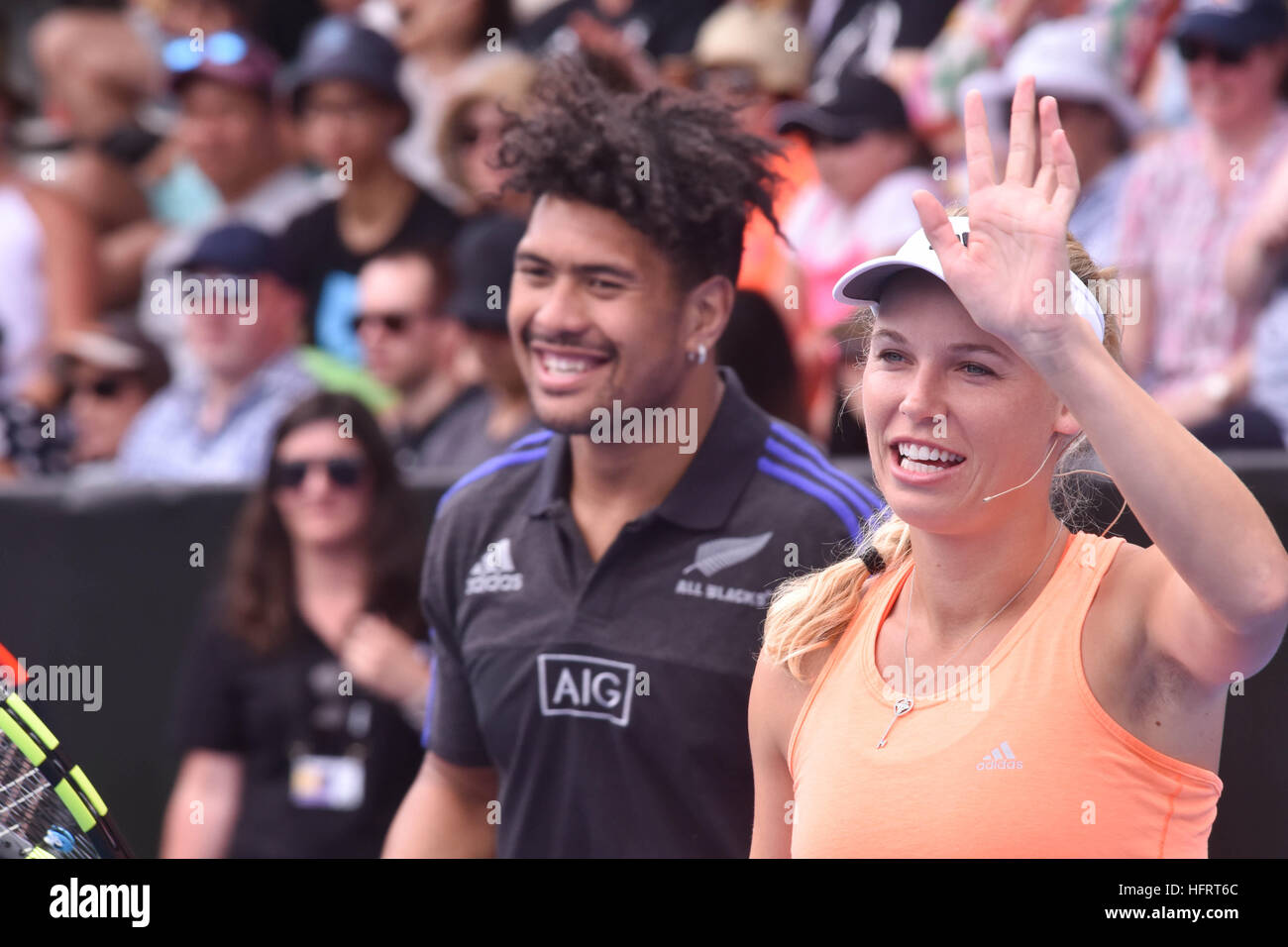 Auckland, New Zealand. 01st Jan, 2017. New Zealand All Blacks rugby star Ardie Savea and Dannish tennis star Caroline - Stock Image