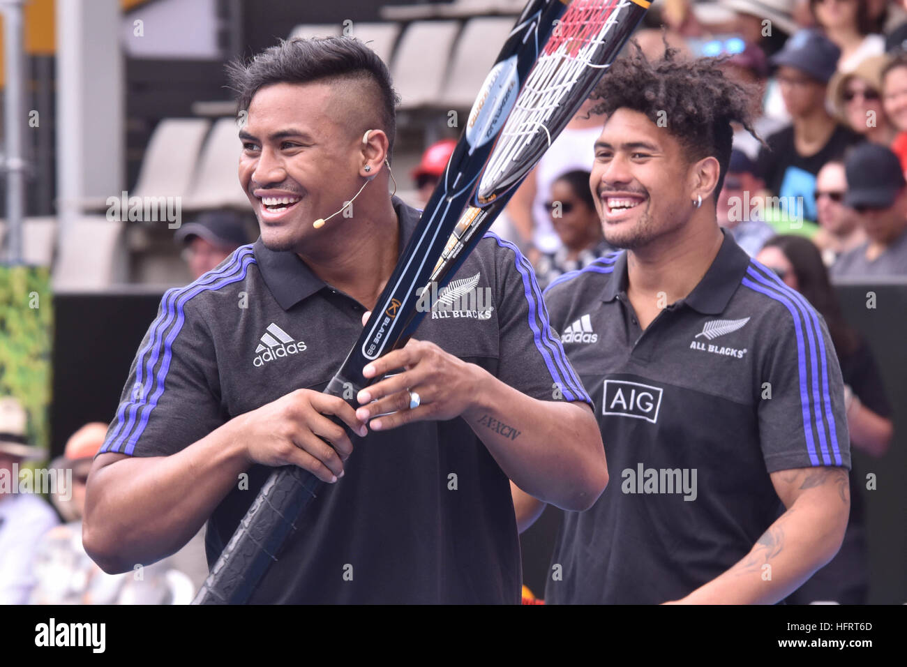 Auckland, New Zealand. 01st Jan, 2017. New Zealand All Blacks rugby stars Ardie Savea (R) and his brother Julian - Stock Image