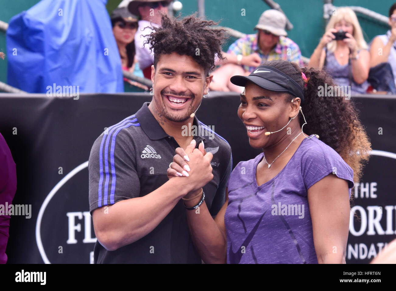 Auckland, New Zealand. 01st Jan, 2017. Tennis superstar Serena Williams and All Blacks rugby star Ardie Savea during - Stock Image