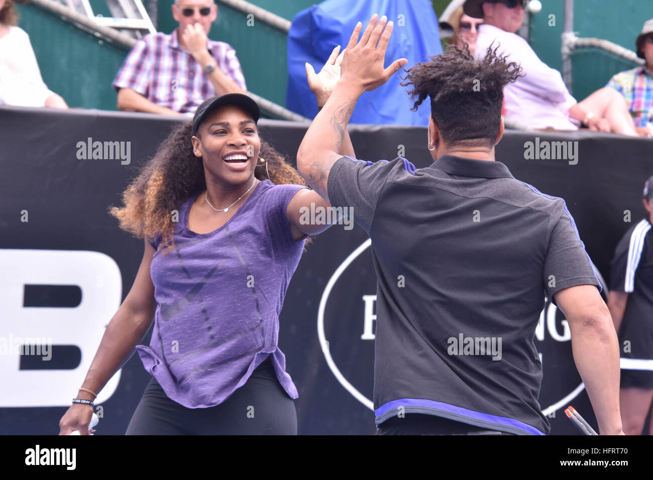 Aucklanda, New Zealand. 01st Jan, 2017. Tennis superstar Serena Williams and All Blacks rugby star Ardie Savea during - Stock Image