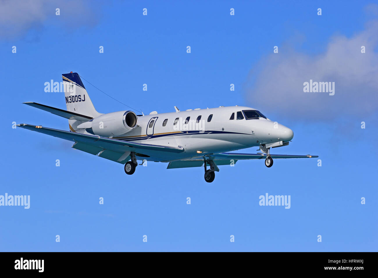 Cessna Citation Excel 560XL executive jet aeroplane operated by Xcel Aviation, landing at Philipsburg Airport, St - Stock Image