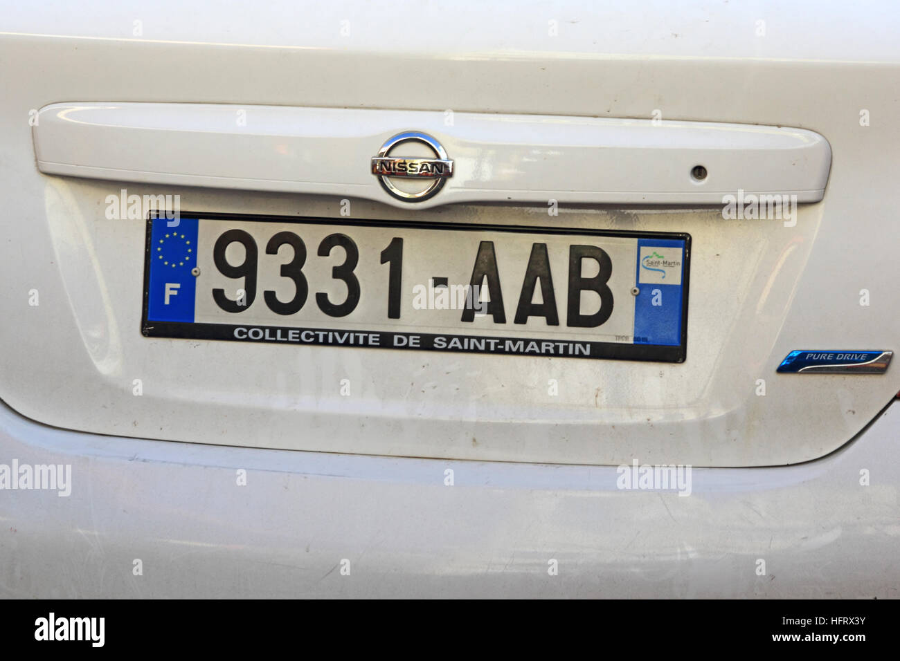 Car registration plate, Saint Martin (French sector) - Stock Image