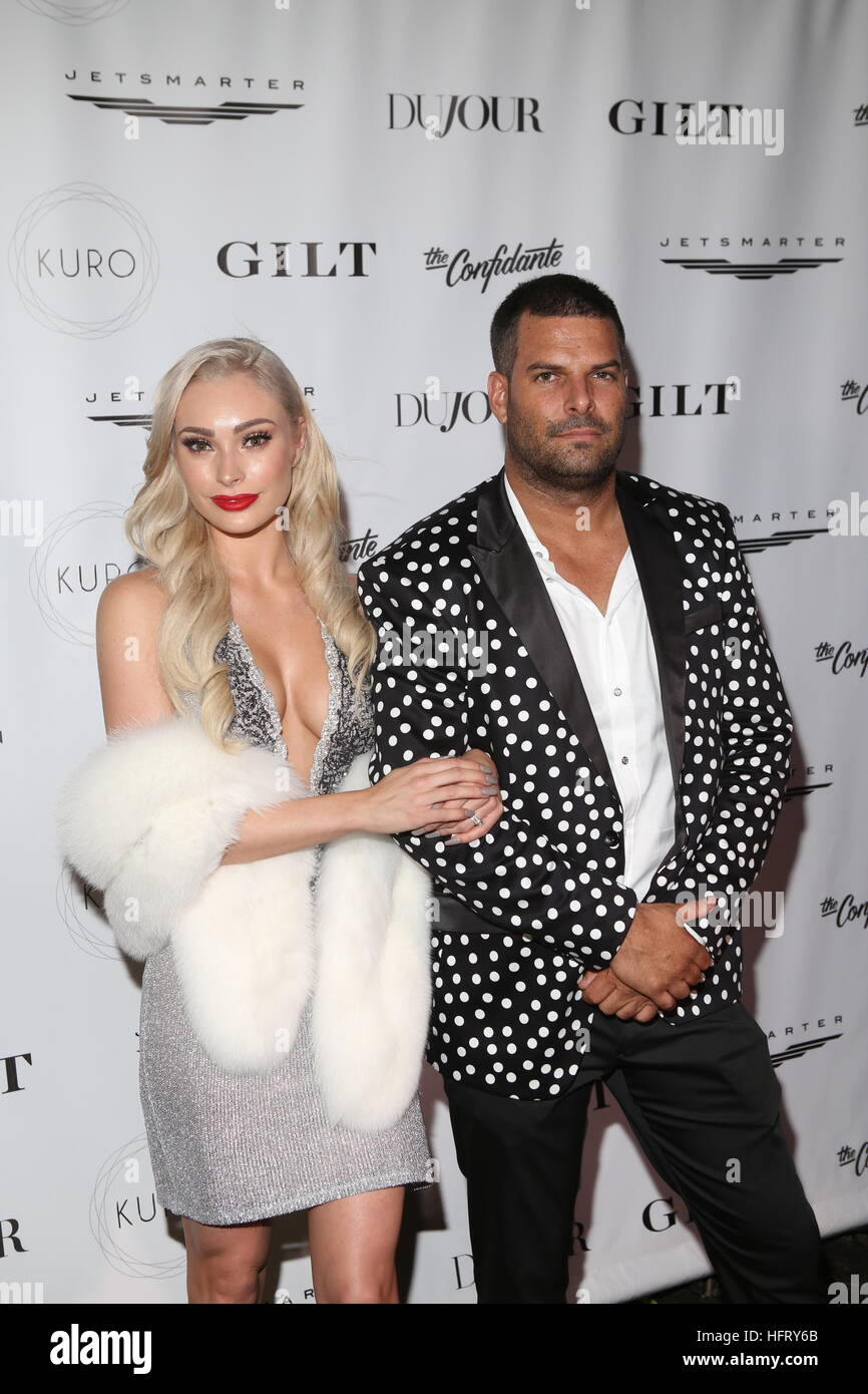 DuJour Media, Gilt and JetSmarter Hosts the Kick Off of Miami Beach's Art Basel Week Party at The Confidante  Featuring: Leighha Love, Gideon Kimbrell Where: MIAMI, Florida, United States When: 01 Dec 2016 Stock Photo