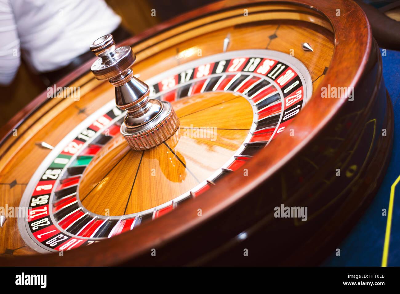 Roulette wheel in casino - Stock Image