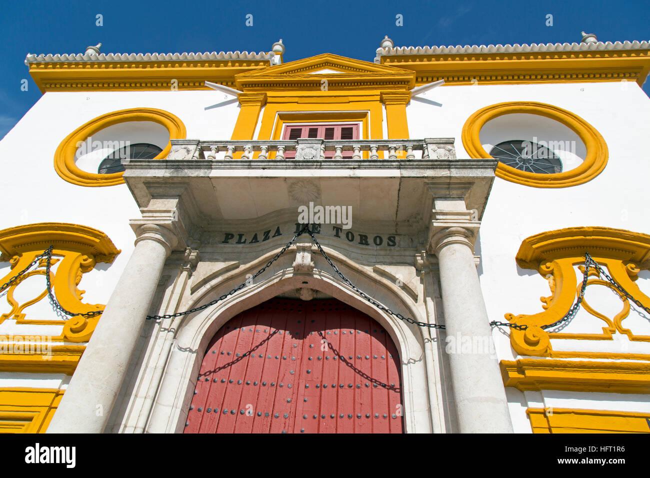 Front facade of Seville Bullring.Plaza de toros de la Real Maestranza de Caballería de Sevill - Stock Image