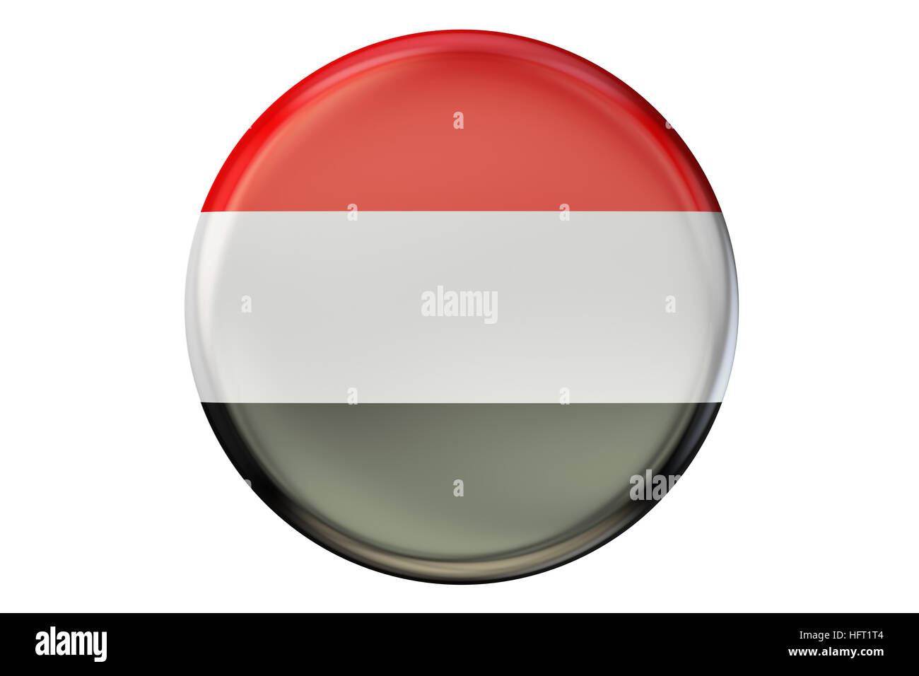 Badge with flag of Yemen, 3D rendering  isolated on white background - Stock Image