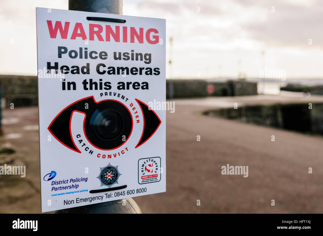 Sign warning the public that police are using Head Cameras in thie area - Stock Image