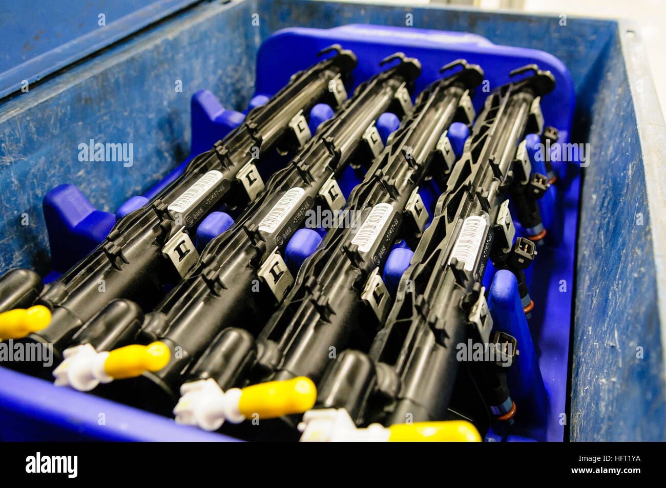 Ignition system manifolds for Ford Zetec engines packaged prior to being fitted at a production line. - Stock Image