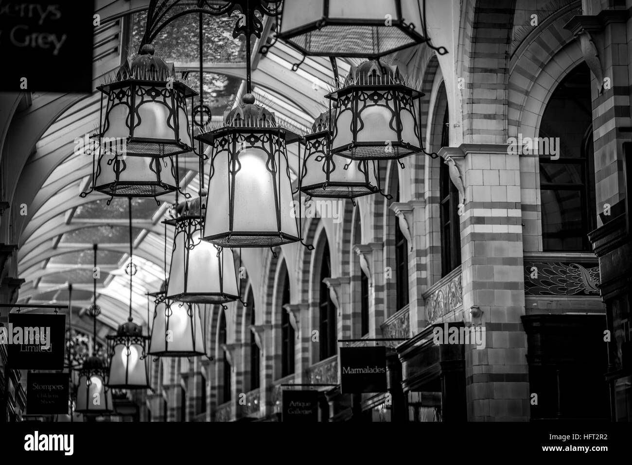 Royal Arcade hanging lights - Stock Image