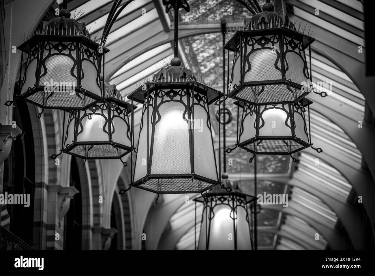 Royal Arcade hanging lights Stock Photo