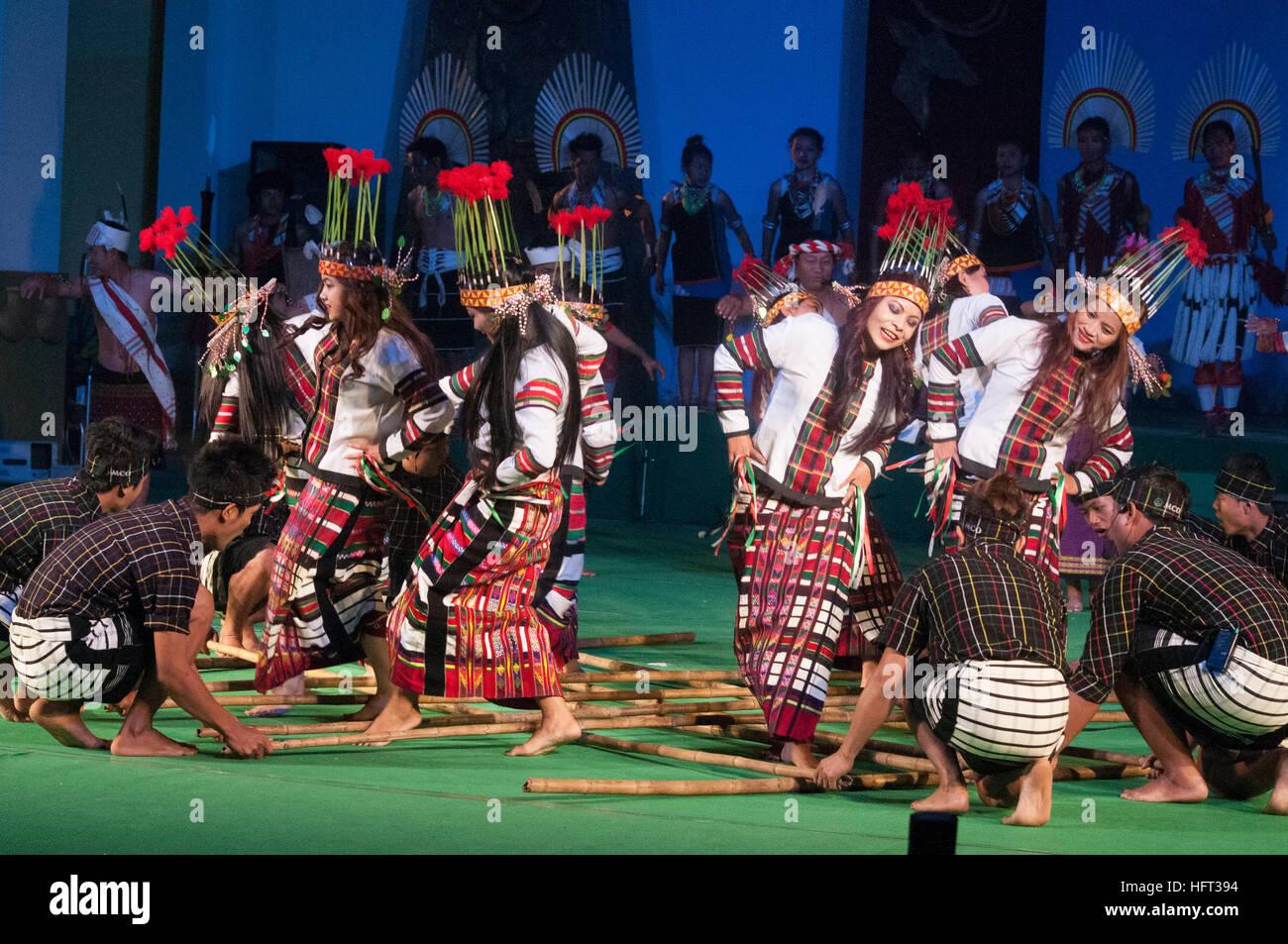 Mizoram dancers performing in 'Colours of NE India' at the Sangai Festival, Imphal, India - Stock Image
