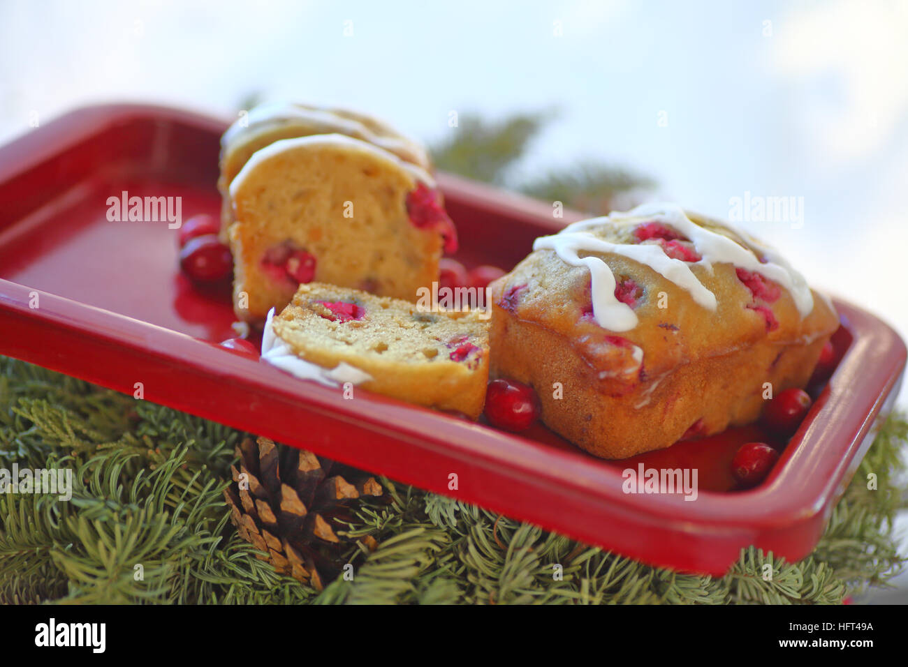 Small loaf cakes with fresh cranberries on a red tray over evergreens and a pine cone - Stock Image