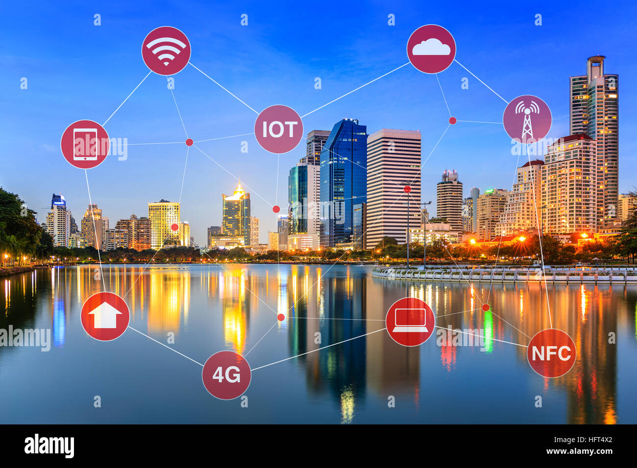 Concept of smart city illustrated by networking and internet of things or IOT. - Stock Image