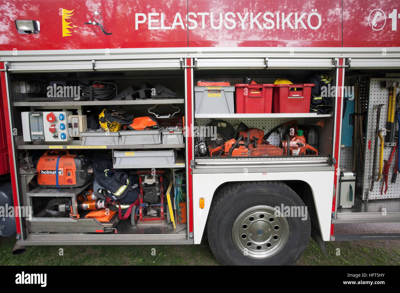 Fire truck equipment on display, Finland Stock Photo