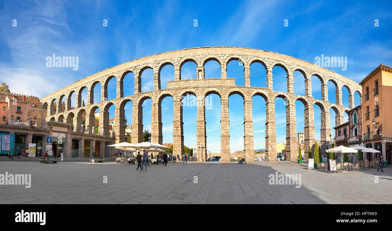 Roman aqueduct bridge, Segovia, Spain UNESCO Stock Photo