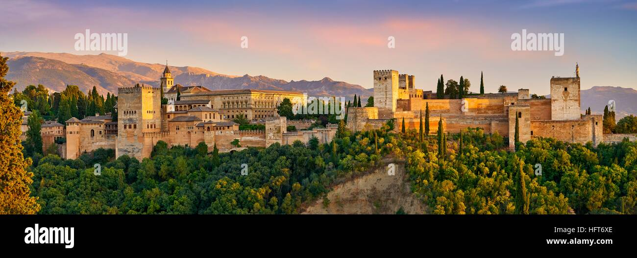 Panorama view of Alhambra Palace, Granada, Andalucia, Spain - Stock Image