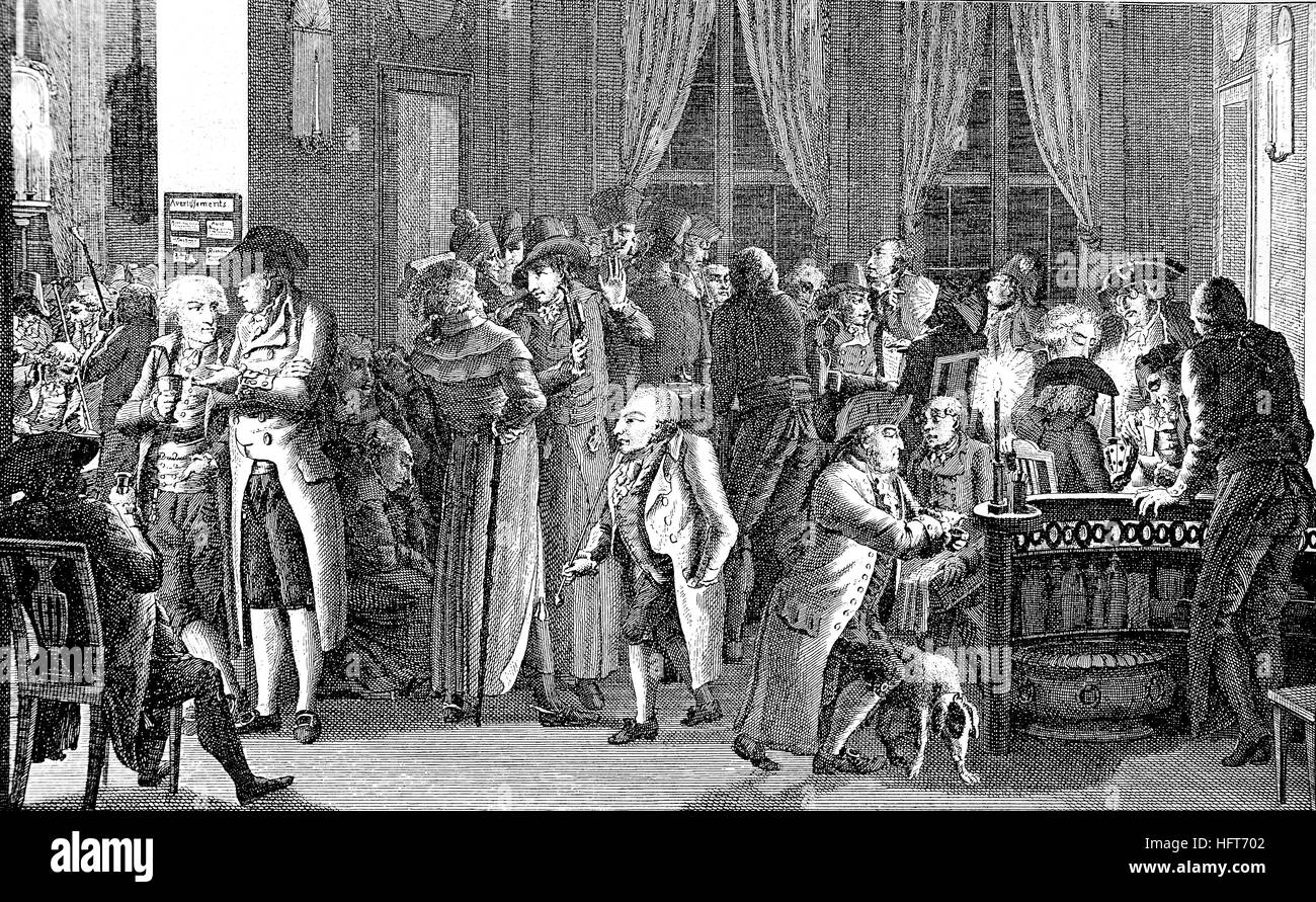 In Richter's cafe in Leipzig, Germany, around 1800, woodcut from the year 1885, digital improved - Stock Image