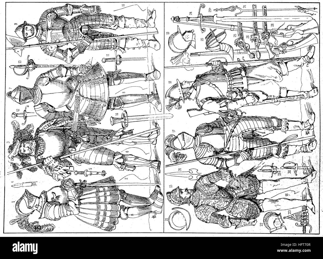 Protective weapons of the 16th and 17th centuries, woodcut from the year 1885, digital improved - Stock Image