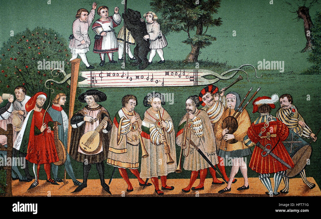Group of musicians from the portrayal of an Augsburg family dance, Augsburger Geschlechtertanz, Germany, of 1520, - Stock Image