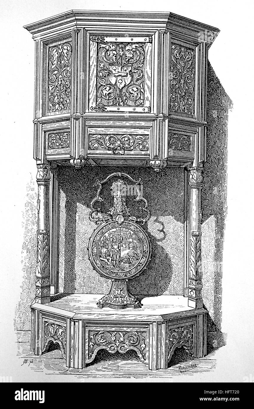 Six-sided credence cabinet with carved panels from the 16th century, woodcut from the year 1885, digital improved - Stock Image