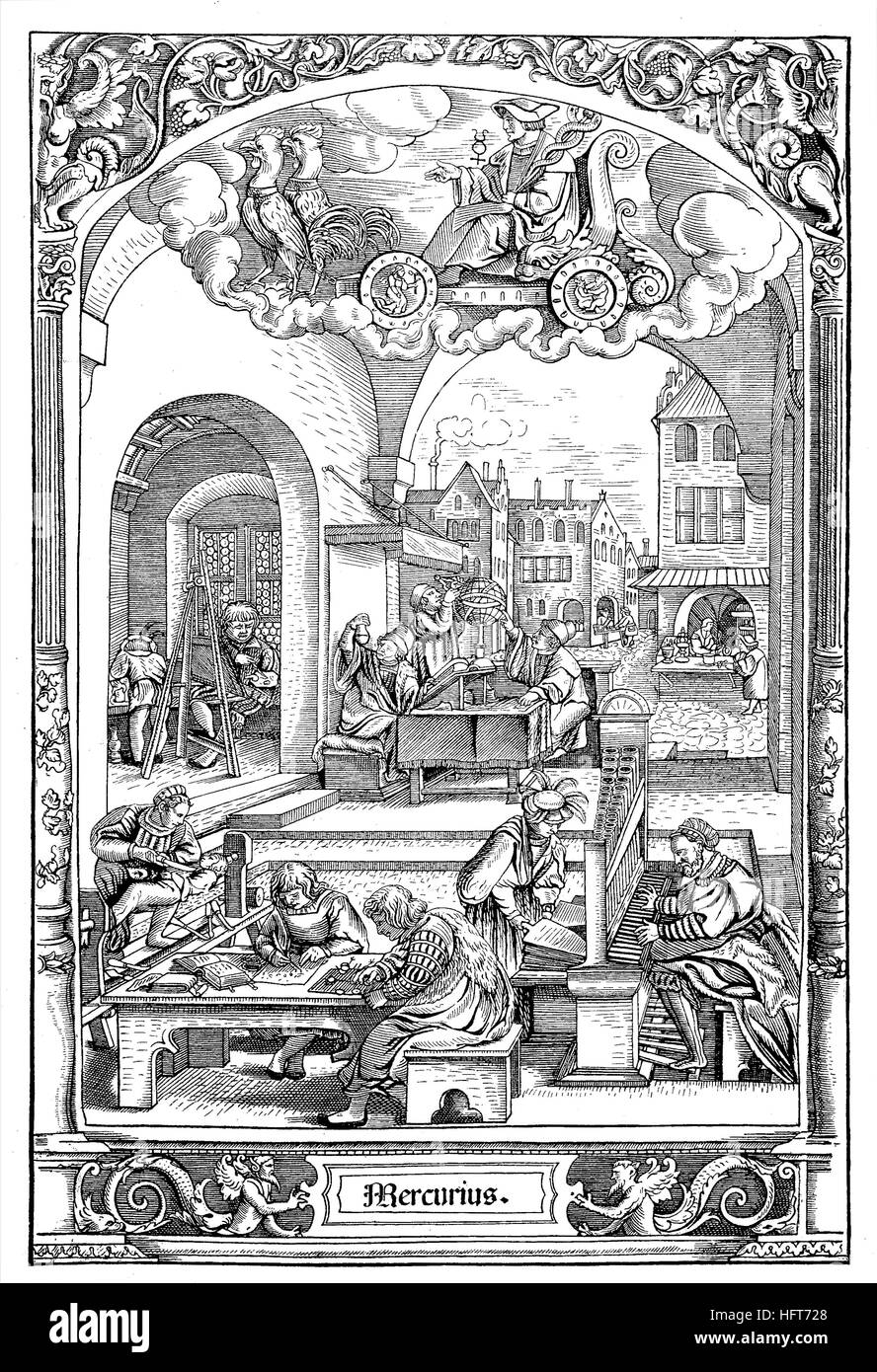 German city life around 1550, look at the workrooms, woodcut from the year 1885, digital improved - Stock Image