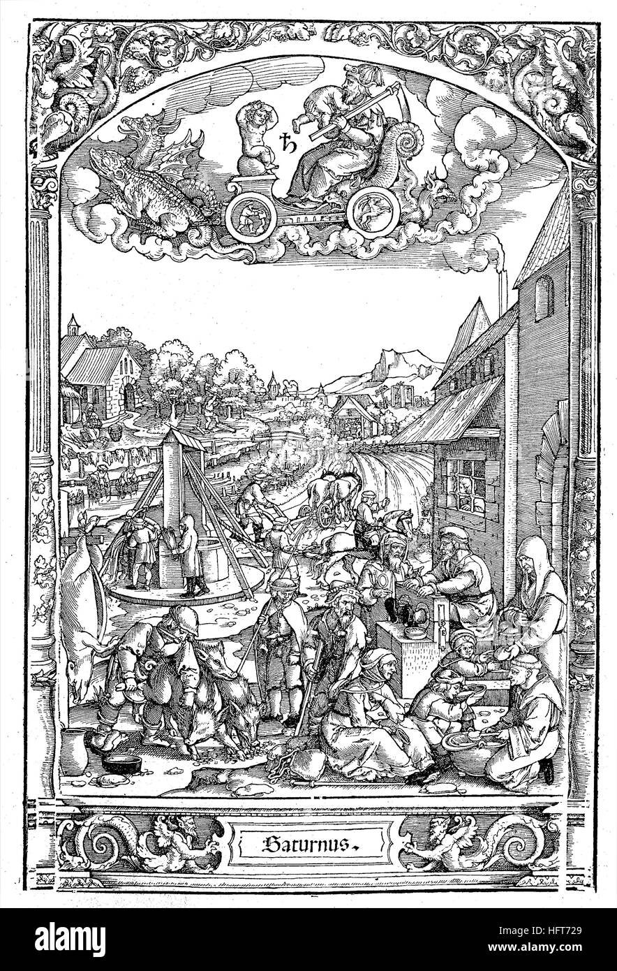 German country life around 1550, view of the different professions and works, woodcut from the year 1885, digital - Stock Image