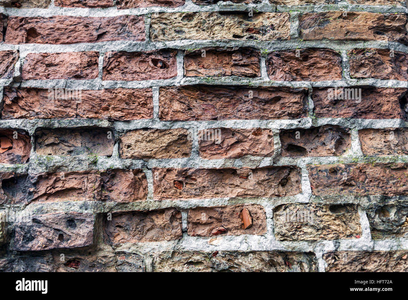 Dirty abandoned old brick wall background - Stock Image