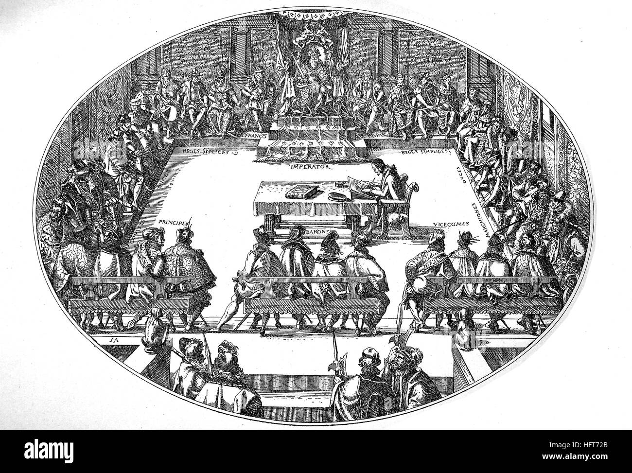 Assemblies under the presidency of the emperor, with kings, dukes, margraves, princes, counts, and barons, as well - Stock Image