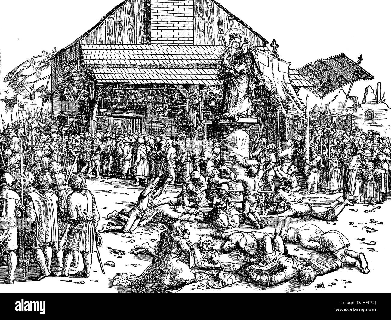 Believers on the pilgrimage, picture of the pilgrimage, Germany, woodcut from the year 1885, digital improved - Stock Image