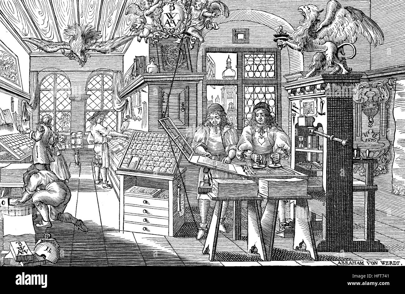 Printers and workers in a book-printing workshop in the 17th century, Germany, woodcut from the year 1885, digital - Stock Image