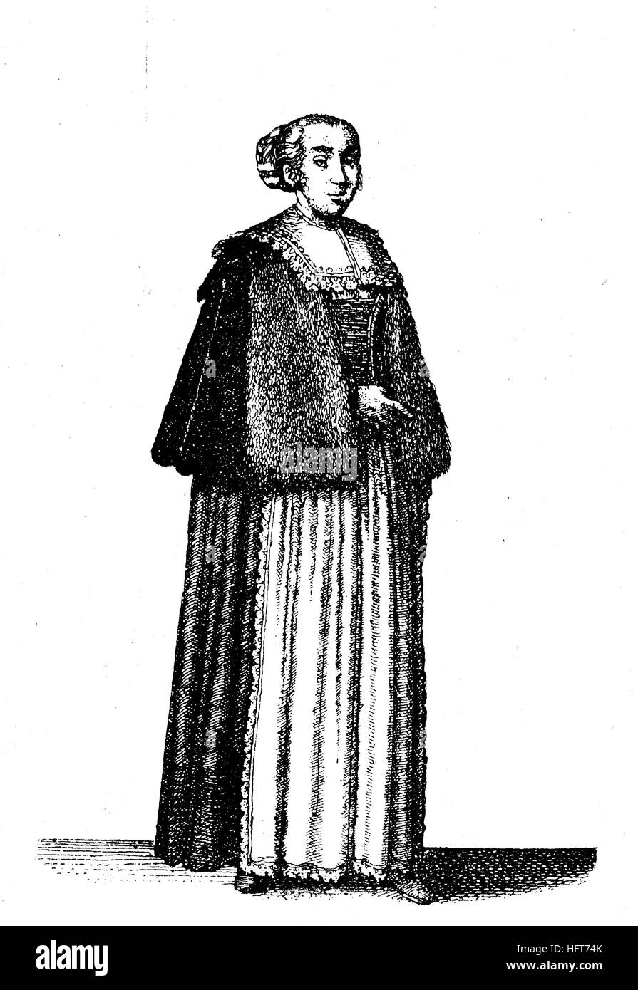 German womenu0027s traditional costumes in the 17th century Clothes of the citizens of Prague now the Czech Republic fashion woodcut from the year 1885 ...  sc 1 st  Alamy & German womenu0027s traditional costumes in the 17th century Clothes of ...