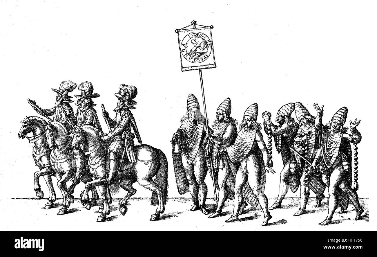 Illustration of a princely parade and knightly games, depicting from real tales, copper engraving, Tuebingen 1618, - Stock Image