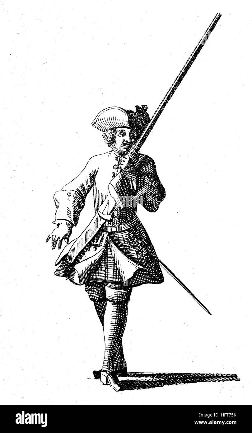 Military types from the beginning of the 18th century, from: von Fleming, Der vollkommene deutsche Soldat, Germany, - Stock Image