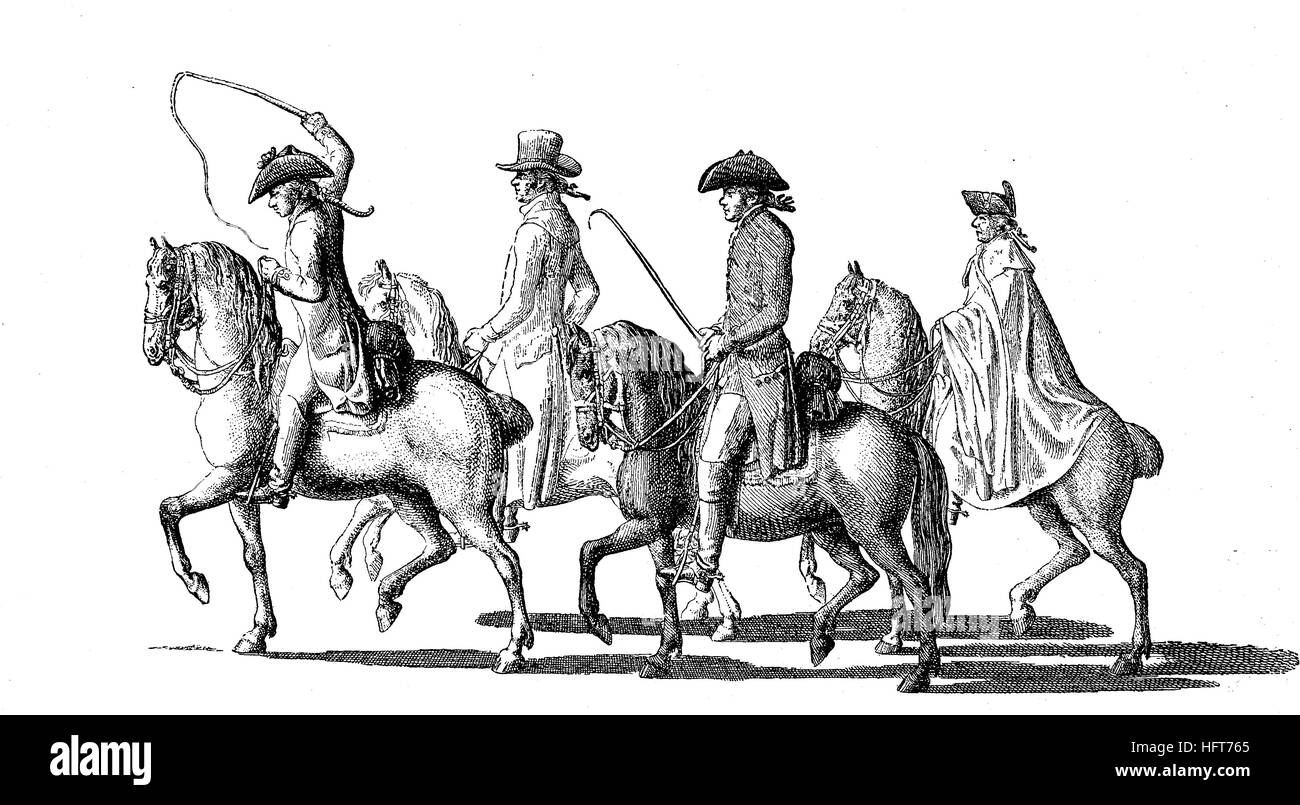 Daniel Chodowiecki on the journey to Dresden, on horseback and accompanied in 1789, Daniel Niklaus Chodowiecki, - Stock Image
