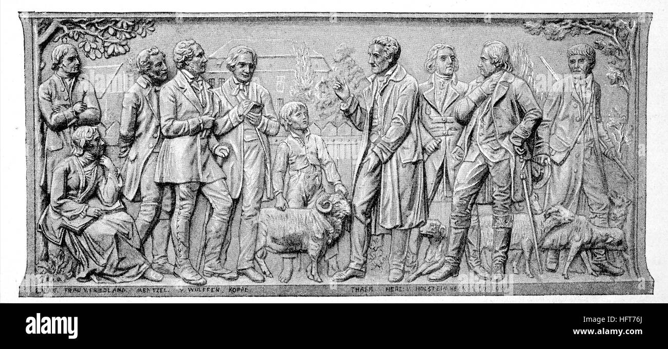 Sheep-breeding, a relief at the monument to Thaers zu Berlin, last work of Christian Daniel Rauch and was completed - Stock Image