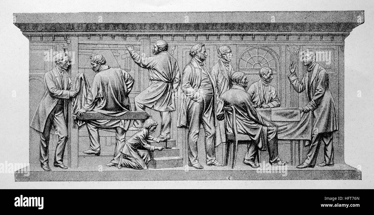 In a weaving, a relief from Friedrich Drake at the monument to Beuths zu Kiss to Berlin, Germany, woodcut from the - Stock Image