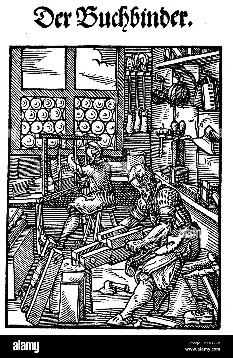 The bookbinder, Der Buchbinder, Woodcut from the, Das Saendebuch, a famous series of woodcuts of the trades by Amman, - Stock Image