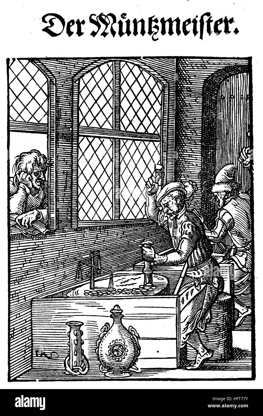 The coin maker, Der Münzmeister, Woodcut from the, Das Saendebuch, a famous series of woodcuts of the trades - Stock Image