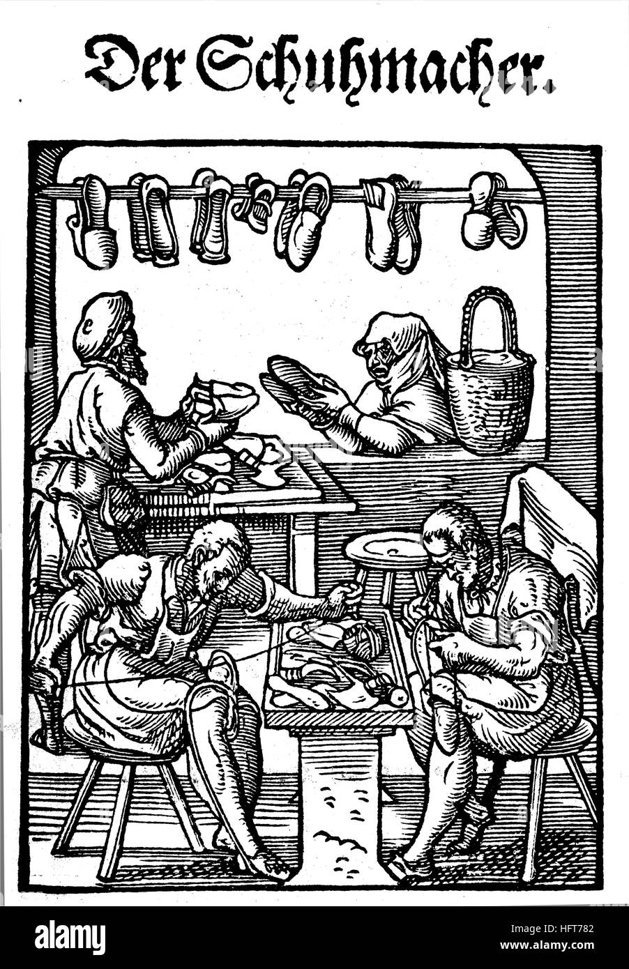 The shoemaker, Der Schuhmacher, Woodcut from the, Das Saendebuch, a famous series of woodcuts of the trades by Amman, - Stock Image