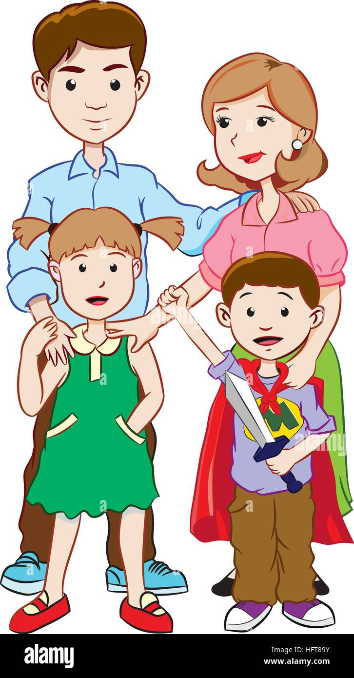 Colorful Happy family with two children, cartoon vector - Stock Vector