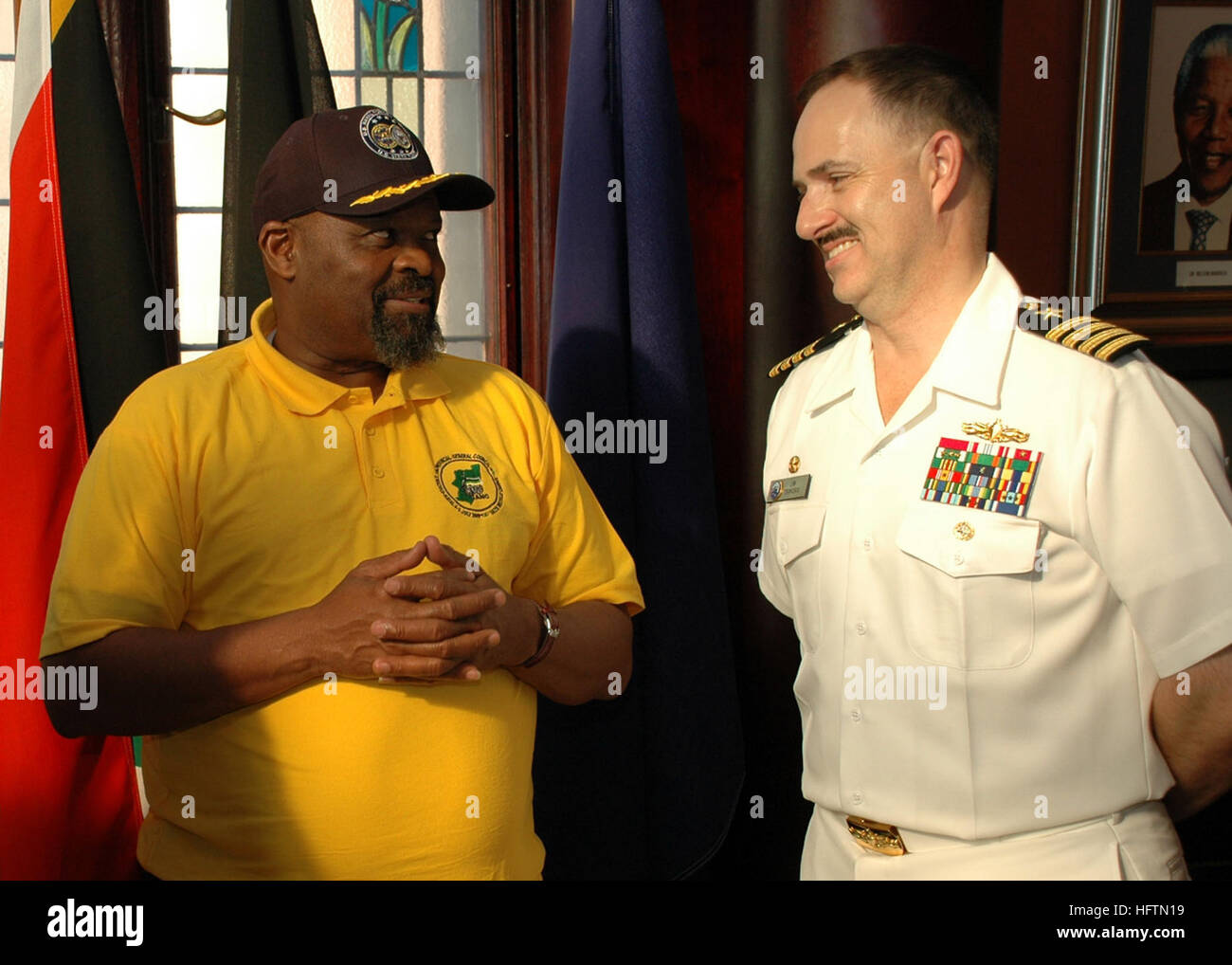 090713-N-1655H-159 DURBAN, South Africa (July 13, 2009) Capt. Jim Tranoris, commodore of Commander, Task Force 363, - Stock Image