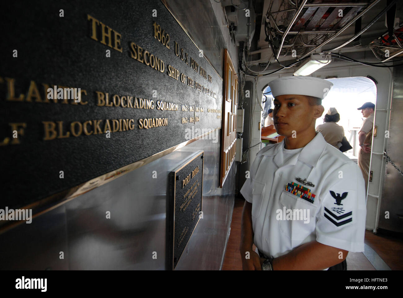 070507-N-4965F-001 PEARL HARBOR, Hawaii (May 7, 2007) - A Sailor stands petty officer of the watch (POOW) on the - Stock Image