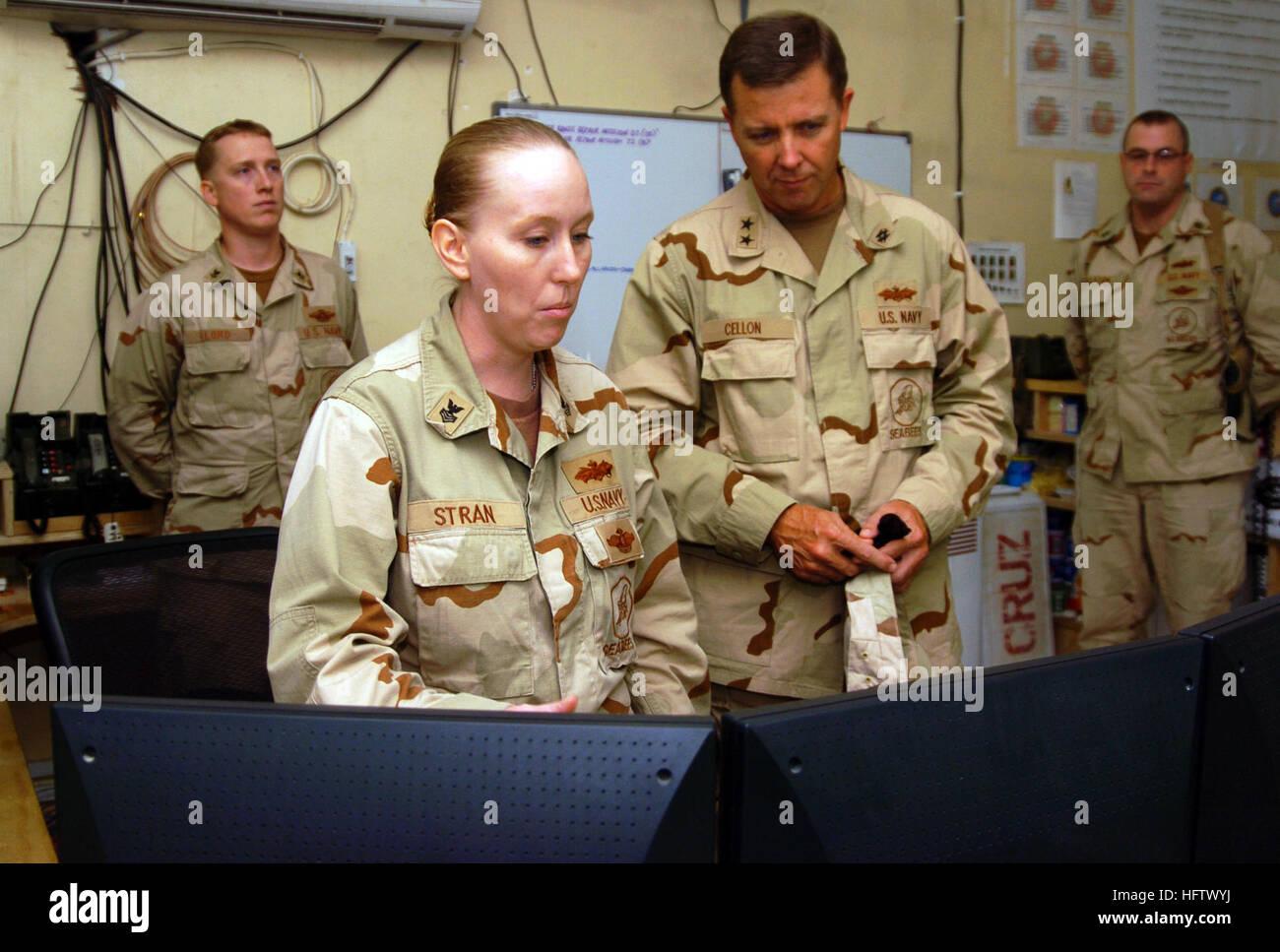 070806-N-8275M-106 CAMP FALLUJAH, Iraq (Aug. 6, 2007) - Rear Adm. Richard Cellon, commander 1st Naval Construction - Stock Image
