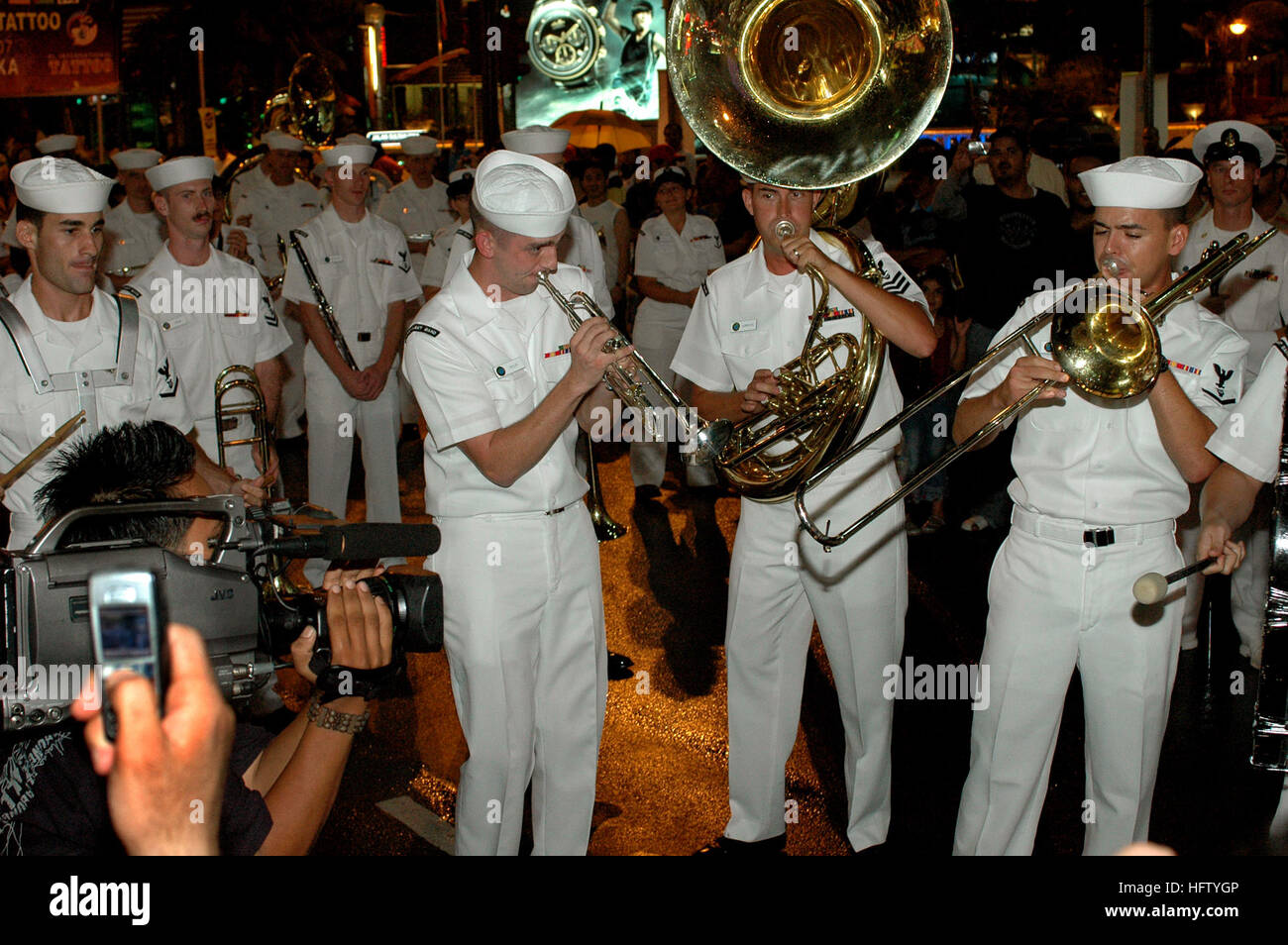 070831-N-5174T-018 KUALA LUMPUR, Malaysia (Aug. 31, 2007) - Sailors from the Pacific Fleet Dixieland Band perform - Stock Image
