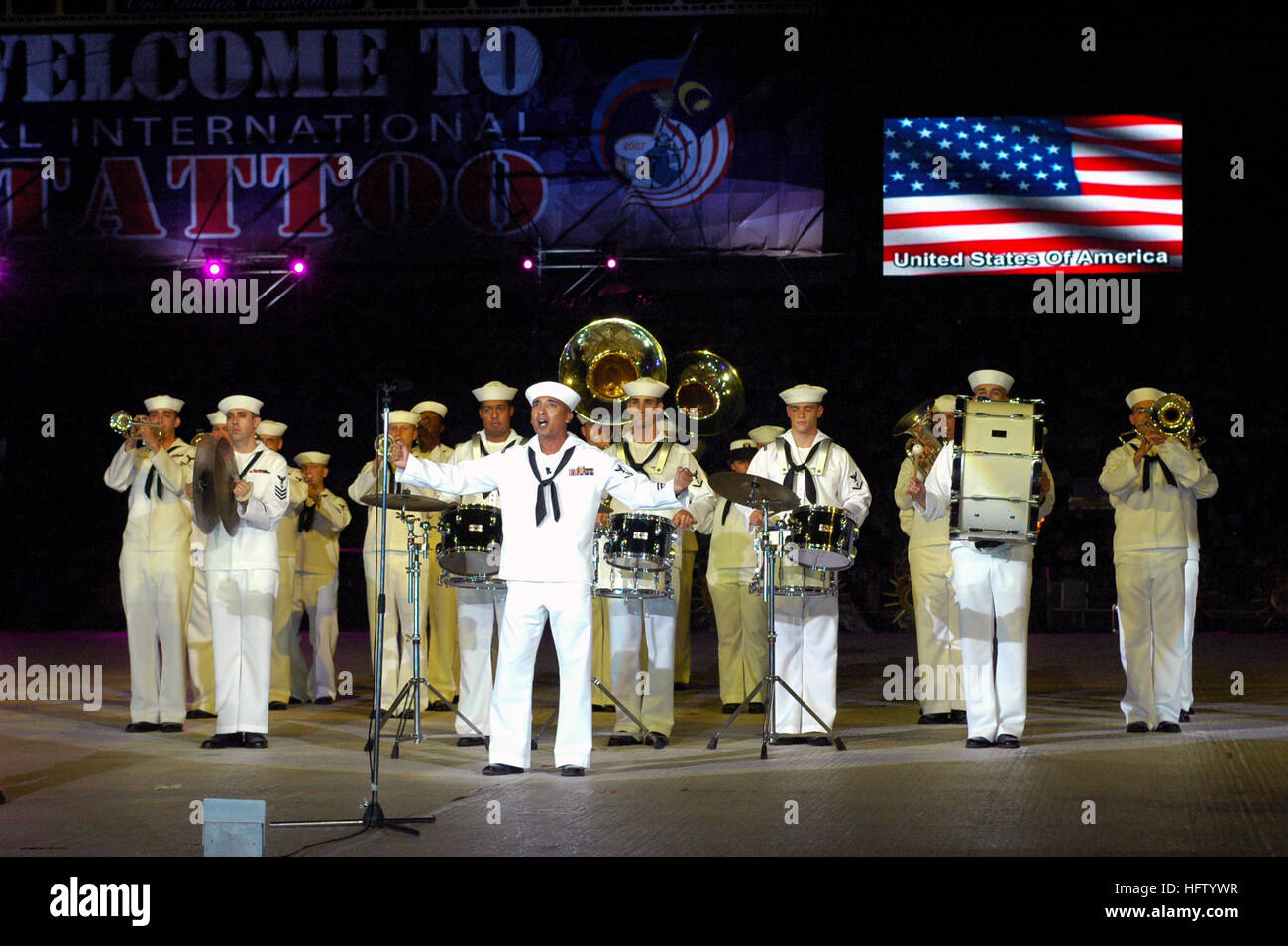 070906-N-5174T-008  KUALA LUMPUR, Malaysia (Sept. 6, 2007) - Sailors attached to the Pacific Fleet Band perform - Stock Image