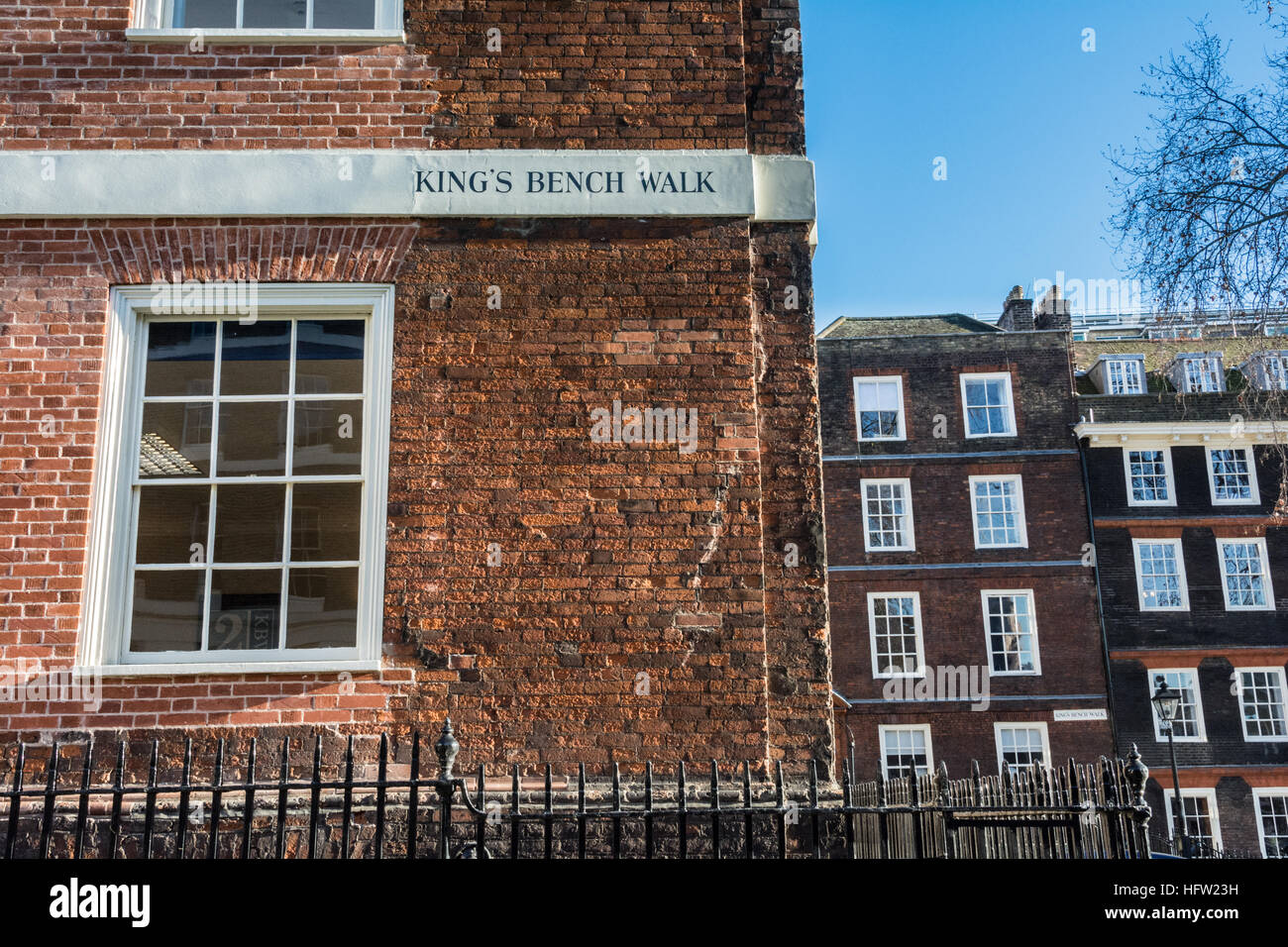 Kings Bench Walk, Inner Temple. Inns of Court., London, UK, - Stock Image